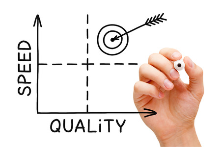 Hand drawing Quality-Speed graph with black marker on transparent wipe board. Stock Photo