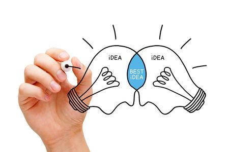 innovativ: Hand skizzieren die beste Idee Glühbirnen Konzept mit schwarzem Marker