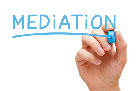 mediate: Hand writing Mediation with blue marker on transparent wipe board.