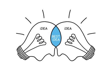 Beste Idee gloeilampen begrip hand getekend met zwarte stift op wit. Teamwork maakt de beste ideeën.