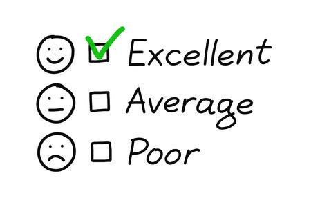 evaluacion: Formulario de evaluaci�n de servicio al cliente con la marca de verificaci�n verde en excelente. Foto de archivo