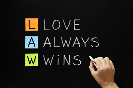 acronym: Hand writing LAW - Love Always Wins with white chalk on blackboard.