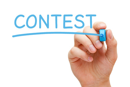 Hand writing Contest with blue marker on transparent wipe board. Stock Photo