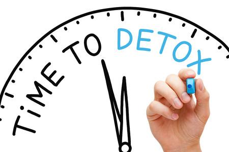 Temps écrit à la main avec le concept Detox avec le marqueur bleu à bord transparent essuyer. Banque d'images