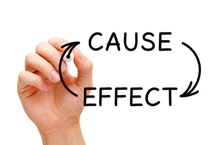 cause and effect: Hand writing Cause and Effect concept with black marker on transparent wipe board. Stock Photo