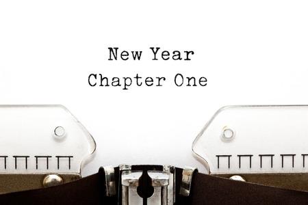 Nieuwjaar Chapter One afgedrukt op een oude typemachine. Stockfoto