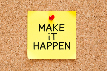 business development: Make it Happen handwritten on yellow sticky note. Stock Photo