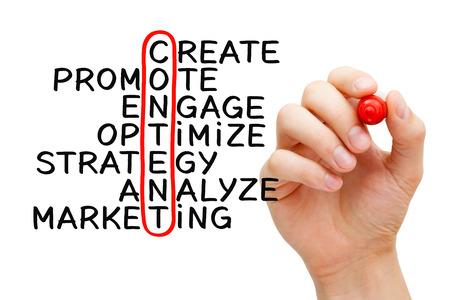 medios de comunicaci�n social: Escritura de la mano concepto crucigrama contenido con el marcador en transparente limpie tablero aislado en blanco.