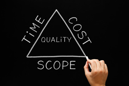 Hand drawing Time Cost Scope Triangle concept with white chalk on a blackboard. Stok Fotoğraf - 38731093