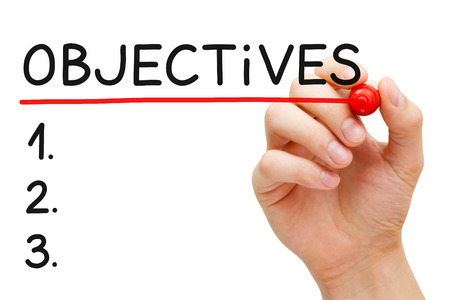 set goals: Hand writing Objectives to do list with marker isolated on white.