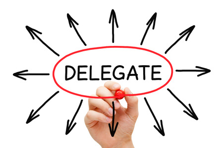 delegation: Hand drawing Delegate concept with marker on transparent wipe board isolated on white.