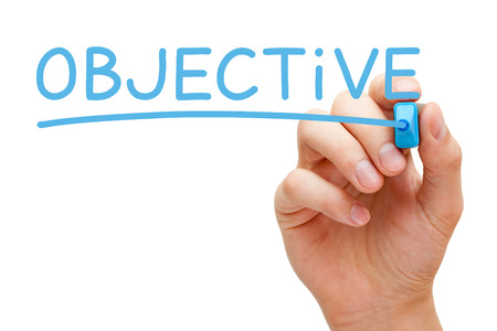objectives: Hand writing Objective with blue marker on transparent wipe board.