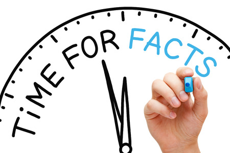 credible: Hand writing Time for Facts concept with blue marker on transparent wipe board.