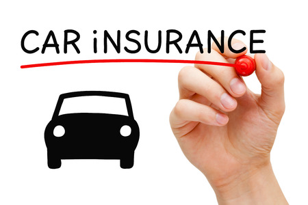 insure: Hand drawing Car Insurance concept with marker on transparent wipe board. Stock Photo