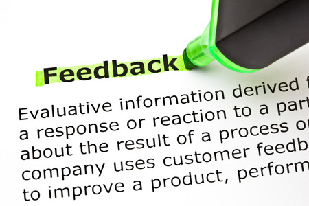 evaluative: Definition of the word Feedback, highlighted with green felt tip pen.