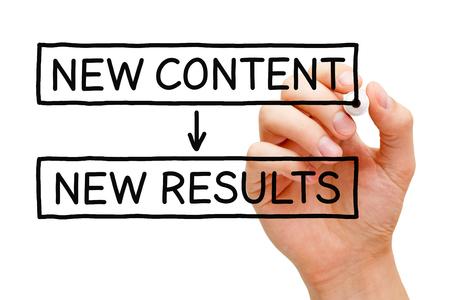 Dé la escritura de nuevos contenidos nuevos resultados con marcador negro en tablero transparente toallita. Foto de archivo