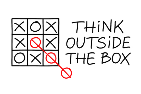Think Outside The Box tic-tac-toe game concept on white background.