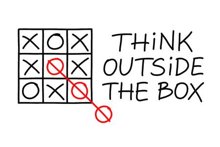Think Outside Le jeu tic-tac-toe notion Box sur fond blanc.