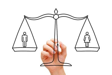 equidad: Gráfico de la mano del concepto sobre la igualdad entre hombres y mujeres.