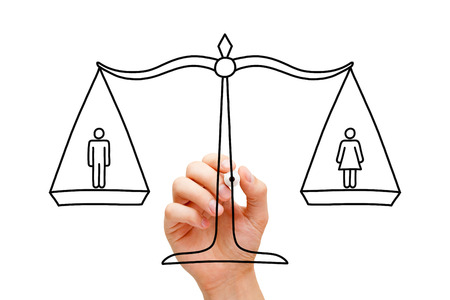 Hand drawing concept about equality between men and women.