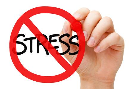 Hand tekening Stress verbodsbord concept met stift op transparante veeg boord. Stress verminderen. Stockfoto