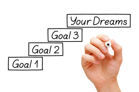 incremental: Move towards your dreams with incremental smaller goals. Hand drawing Goals Setting concept with marker on transparent wipe board.