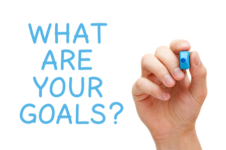 goal achievement: Hand writing What Are Your Goals with blue marker on transparent wipe board.