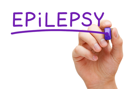 episodes: Hand writing Epilepsy with purple marker on transparent wipe board. Stock Photo
