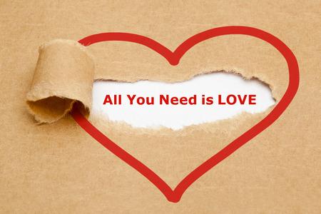 De tekst All You Need Is Love te zien zijn achter gescheurd bruin papier.