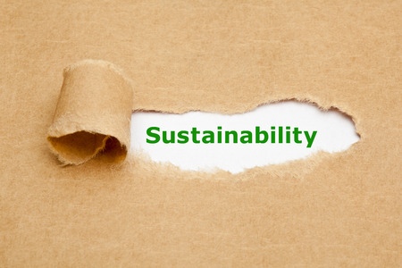 La palabra sostenibilidad que aparece detrás de rasgado de papel marrón. Foto de archivo