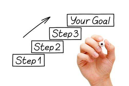 Beweeg in de richting van je doelen stap voor stap. Hand tekening Doelen instellen concept met stift op transparante veeg boord.