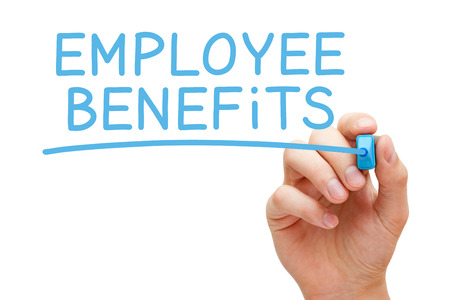 employees: Hand writing Employee Benefits with blue marker on transparent wipe board isolated on white.