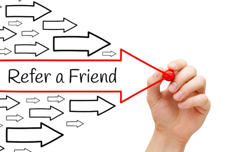 Hand drawing Refer a Friend arrows concept with marker on transparent wipe board. Referral marketing concept.