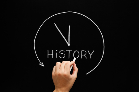 annals: Hand sketching History Arrow Clock concept with white chalk on a blackboard.
