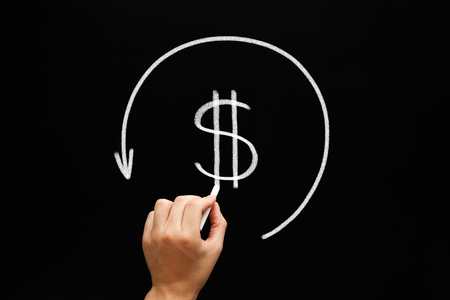 tax returns: Hand drawing Refund concept - dollar sign in arrow circle with chalk on blackboard. Compensation paid to a customer for returned goods or for over-invoicing. Tax refund -  return by the taxation authorities of excess tax paid. Stock Photo