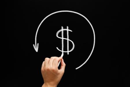 Hand tekening Refund concept - dollar teken pijl in cirkel met krijt op bord. Compensatie betaald aan een klant voor geretourneerde goederen of over-facturatie. Belastingteruggave - terug door de belastingdiensten van teveel betaalde belasting.