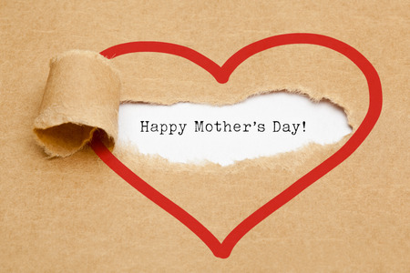 The text Happy Mothers Day appearing behind torn brown paper. My heart is always open for my mom.
