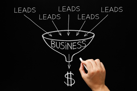 crm: Hand drawing Lead Generation Business Funnel concept with white chalk on blackboard.
