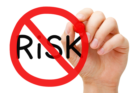 risk free: Hand drawing Risk prohibition sign concept with marker on transparent wipe board. Risk free guarantee concept.