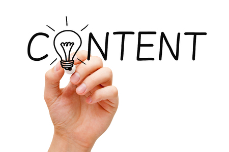 marketing concept: Hand writing Content creativity light bulb concept with marker on transparent wipe board.