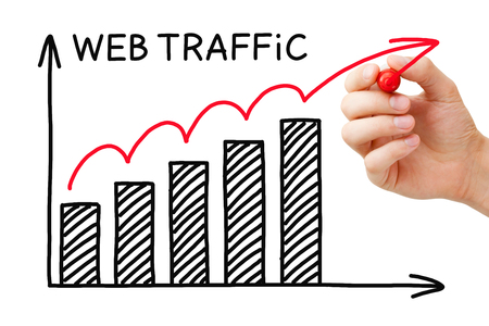increase visibility: Hand drawing Web Traffic graph concept with marker on transparent wipe board.
