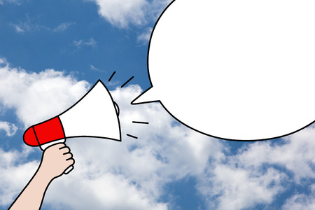public relations: Drawing of hand holding a megaphone and blank speech bubble on blue sky and clouds background. Communication, promotion or public relations concept.