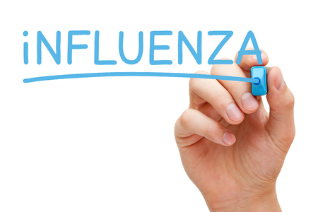 influenza: Hand writing Influenza with blue marker on transparent wipe board. Stock Photo