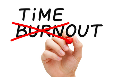 burn out: Hand writing Burnout Timeout concept with marker on transparent wipe board. To avoid falling victim to burnout, you need to take a timeout.