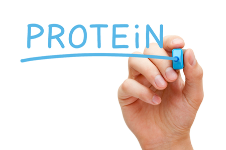 nutriments: Hand writing Protein with blue marker on transparent wipe board isolated on white background.