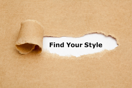 style advice: The text Find Your Style appearing behind ripped brown paper.