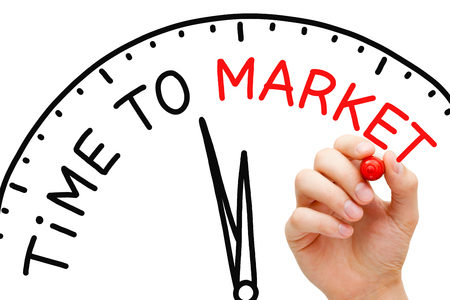 marketshare: Hand writing Time to Market clock concept with red marker on transparent wipe board. Stock Photo