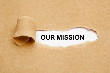 our: Our Mission Ripped Paper Concept Stock Photo