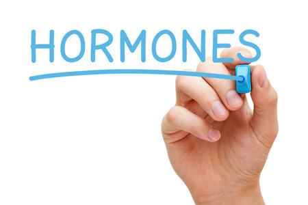 Hormone handschriftlich mit blauem Marker