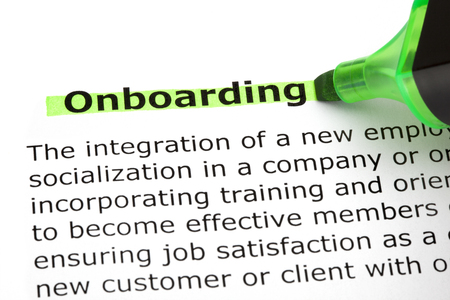Onboarding Highlighted With Green Marker Stock Photo